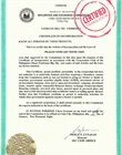 Certified translation of legalized copy of certificate of incorporation